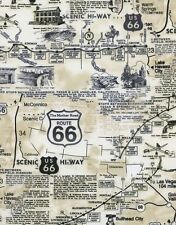 Timeless Treasures Route 66 Natural Fabric By the Yard- Map C7529 100% Cotton