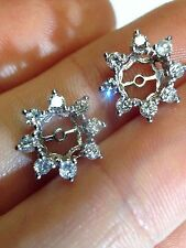 New .56CT Diamond Halo 14K White Gold Earring Jackets for 3/4CT to 1CT Diamonds