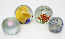 Lot of 4 Large Old Art Glass Paperweights