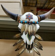 "Western cow skull Navajo design w feathers 20"" × 12"" home decor NEW ITEM"