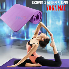 Yoga Mat 15mm Thick Exercise Fitness Physio Pilates Camping Gym Mats Non Slip UK