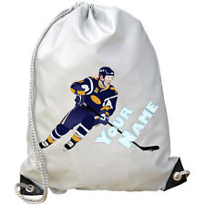 ICE HOCKEY PLAYER  PERSONALISED GYM / PE / SWIMMING BAG - GREAT KIDS NAMED GIFT