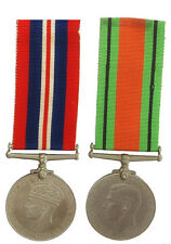 WW2 THE BRITISH DEFENCE MEDAL & WAR MEDAL PAIR + RIBBON