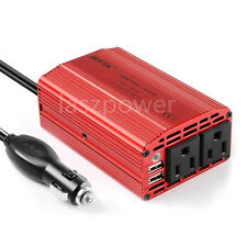 BESTEK 300W Dual DC 12V to 110V AC Outlets Power Inverter Car Adapter 2 USB Port