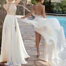 Long Backless Chiffon Wedding Prom Dresses with Slit Formal Evening Party Gown