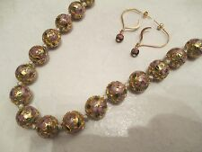 Vintage Cloisonne Enamel Pink Flower Asian Knotted Bead Necklace & Earrings