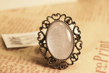 R1196 New Fashion Vintage Style Brass Hollow White Stone Ring Adjustable TOP