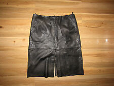Olly London, black 100% real Leather, stitch sexy skirt, size 12.