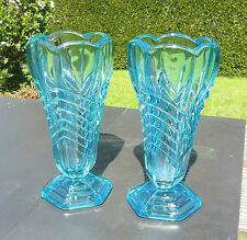 "A Pair of Art Deco Davidson 8¼"" Chevron Turquoise Blue Glass Vases Pattern  295"