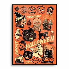 BEISTLE ® Vintage 50's 60's HALLOWEEN Decoration *POSTER Print WITCH Mondo *RARE