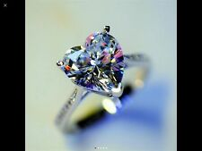 HEART LAB DIAMOND FIRE AS MOISSANITE SOLITAIRE RING STERLING SILVER + SAPPHIRE
