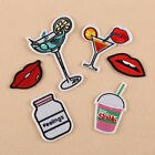 6pcs Embroidery Beverage Lips Sew Iron On Patch Badge Clothes Bag Applique DIY