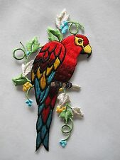 "#3541 5 1/2""H Macaw Parrots Bird w/Flower Embroidery Iron On Applique Patch"