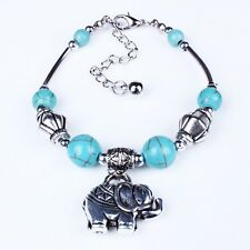 Elephant Turquoise Blue Stone Spacer Dangle Owl Bird Bracelet браслет