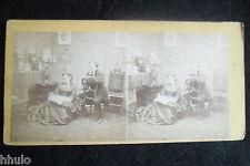 STB053 Scène de genre femme lecture bureau vintage ancien photo STEREO amateur
