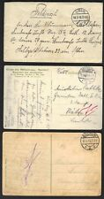 """GERMANY 1915-18 3 FIELDPOST COVER & CARDS """"BOCHUM"""" """"COLN"""" """"NEVIGES"""" WWI MILITARY"""