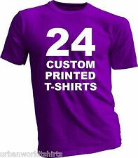 24 CUSTOM PRINTED T-SHIRTS / SCREEN PRINTING / 2 COLORS ON 2 SIDES