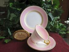 SHELLEY Fine Bone China   **PINK SWIRLS**#12649   Cup, Saucer & Side Plate