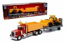 NEWRAY 1:32 PETERBILT MODEL 379 DUMP TRUCK WITH WHEEL LOADER & Trailer SS-10673