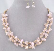 Pink Stone Chip and Bead Necklace Set Tan Cord Silver Fashion Jewelry NEW