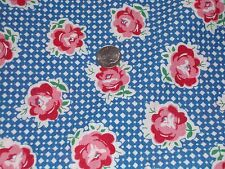 VINTAGE 40'sPRETTY RED&BLUE ROSES   FEED SACK  COTTON FABRIC  UNUSED
