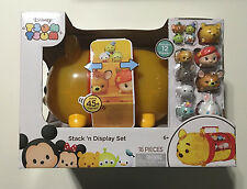 "Disney ""Tsum Tsum"" Stack N Display Set Plastic Carrying Case 16 Pieces NEW Pooh"