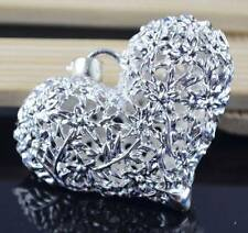 HOT A+ 925 Silver Plated Big Antique Love Heart Ball Pendant For Necklace