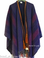 Chic! NEW Authentic HERMES Navy Orange Women Wool Poncho with Tassel Rocabar