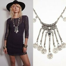 Ethnic Style Antique Silver Chian Tribal Tassel Pendant Necklace