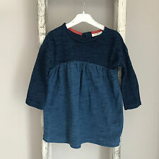 Baby Girl Next Dress Size 6-9 Months Navy Blue Long Sleeve Denim Spring Outfit