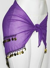 Purple Sheer BellyDance BELLY Dancing Burlesque COIN HIP SCARF BELT WRAP Sarong