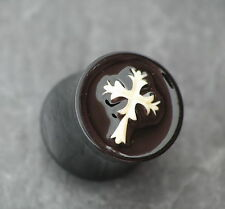 Kunststoff Plug KREUZ Gothic Piercing 10MM Ohrring Ohrpiercing gedehntes Ohrloch