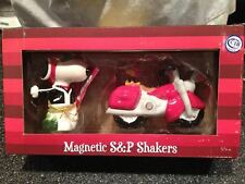 Snoopy Joe Cool & Woodstock Motorcycle Ceramic Magnetic Salt & Pepper Shakers