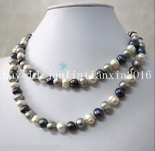 Real 9-10mm Multi Color Freshwater Cultured Pearl Necklace 25''