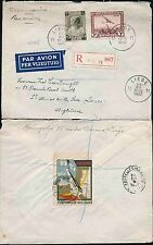 BELGIUM 1937 AIRMAIL 5F + 50c + 5c REGISTERED + LIEGE EXPO LABEL CLOSURE