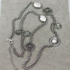 Chico's signed jewelry vintage silver tone long necklace pendant link chain