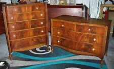 John Stuart French Style Flame Mahogany Bedroom Dresser and Chest Set