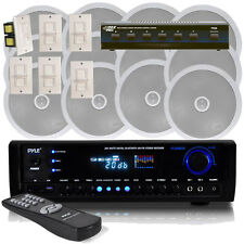 NEW Pyle 6 Channel Speaker System Wall Volume Control Bluetooth Receiver MP3/USB