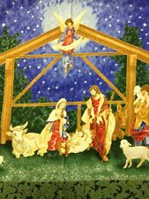PNL95 Manger Relgious Christmas Angels Mary Jesus Cotton Quilt Fabric Panel