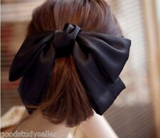 Fashion Korean Women Black Satin Ribbon Bow Hair Clips Barrette Ponytail Holder