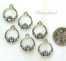TierraCast Charms, Small Claddagh Charms Silver Plated Pewter, Celtic, 6 Pieces