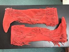 Women's Sam Edelman Uri - Over the Knee Fringe Boots - Red Suede - Size 9