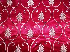 Vintage 1950's Shiny Cotton Brocade Interiors Fabric Red Leaf Scroll Design