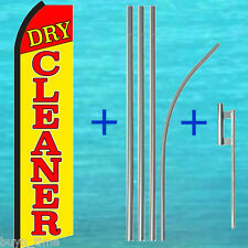 DRY CLEANER FLUTTER FEATHER FLAG + 15' TALL POLE + MOUNT KIT Swooper Bow Banner