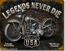 Legends Never Die Tin Sign Harley Davidson Style Motorcycle Shop Garage Picture
