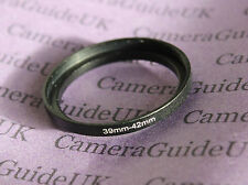39mm to 42mm Male-Female Stepping Step Up Filter Ring Adapter 39mm-42mm UK