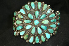 OLD NAVAJO STERLING SILVER TURQUOISE CLUSTER BRACELET NATIVE AMERICAN DEAD PAWN