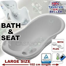 SET LARGE 102cm Baby Bath Tub with thermomether & DRAIN + SEAT chair GREY OWL