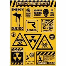 A4 Die Cut WARNING CAUTION DANGER Funny Cute Sticker Skateboard Vinyl Decal Car