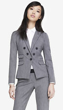 NEW EXPRESS $128 GRAY TEXTURED TWEED FAUX DOUBLE BREASTED JACKET BLAZER SZ 0